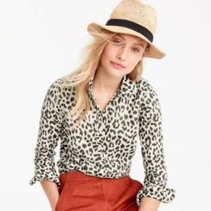 NEW J. Crew women Perfect Leopard Print Shirt